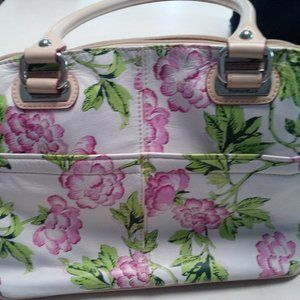 Pink Peonies! Tignanello printed leather handbag